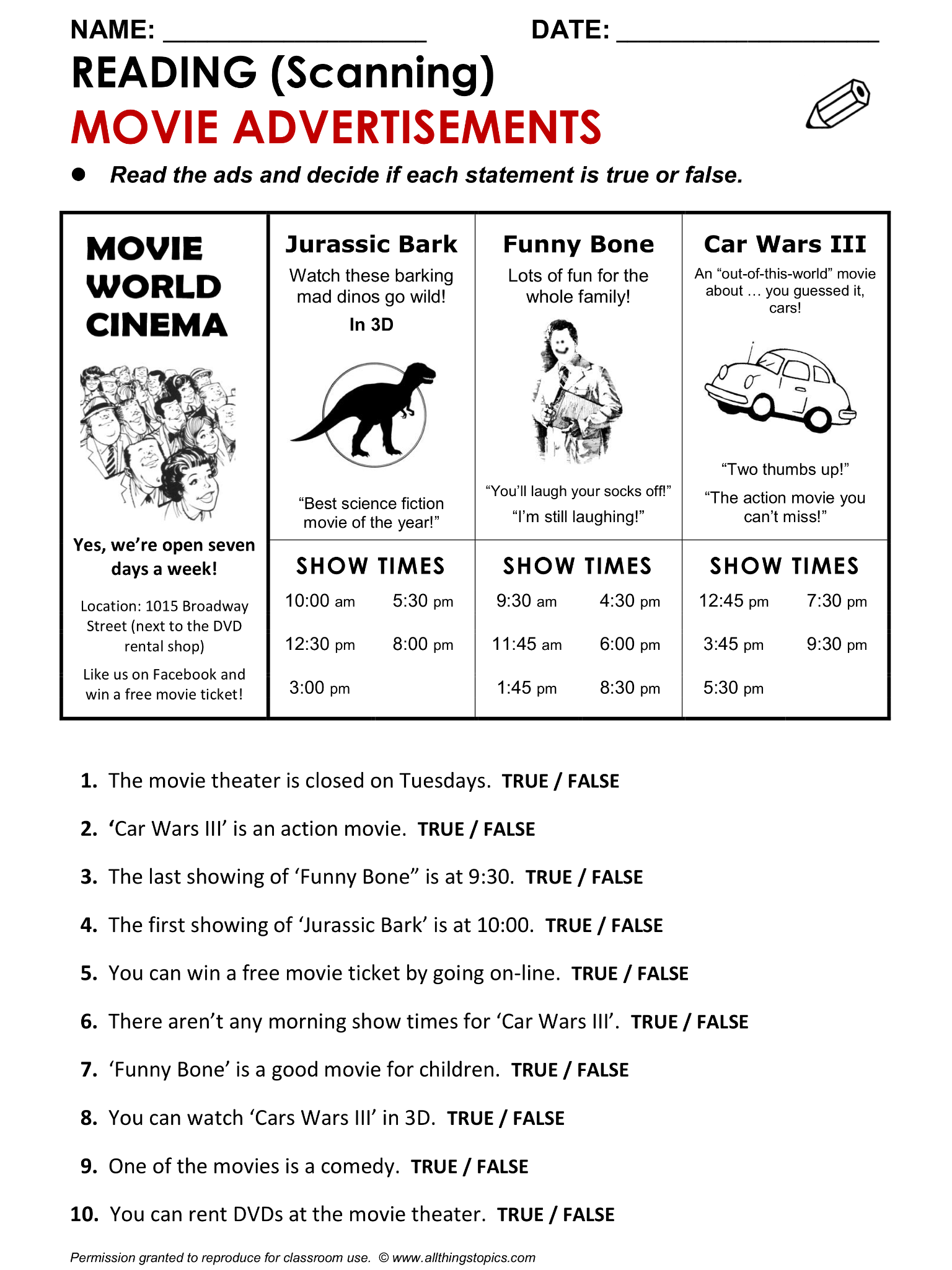 Reading Scanning Practice Movies Http Www Allthingstopics Com Movies And Tele English Teaching Materials English Reading Reading Comprehension Worksheets [ 2048 x 1536 Pixel ]