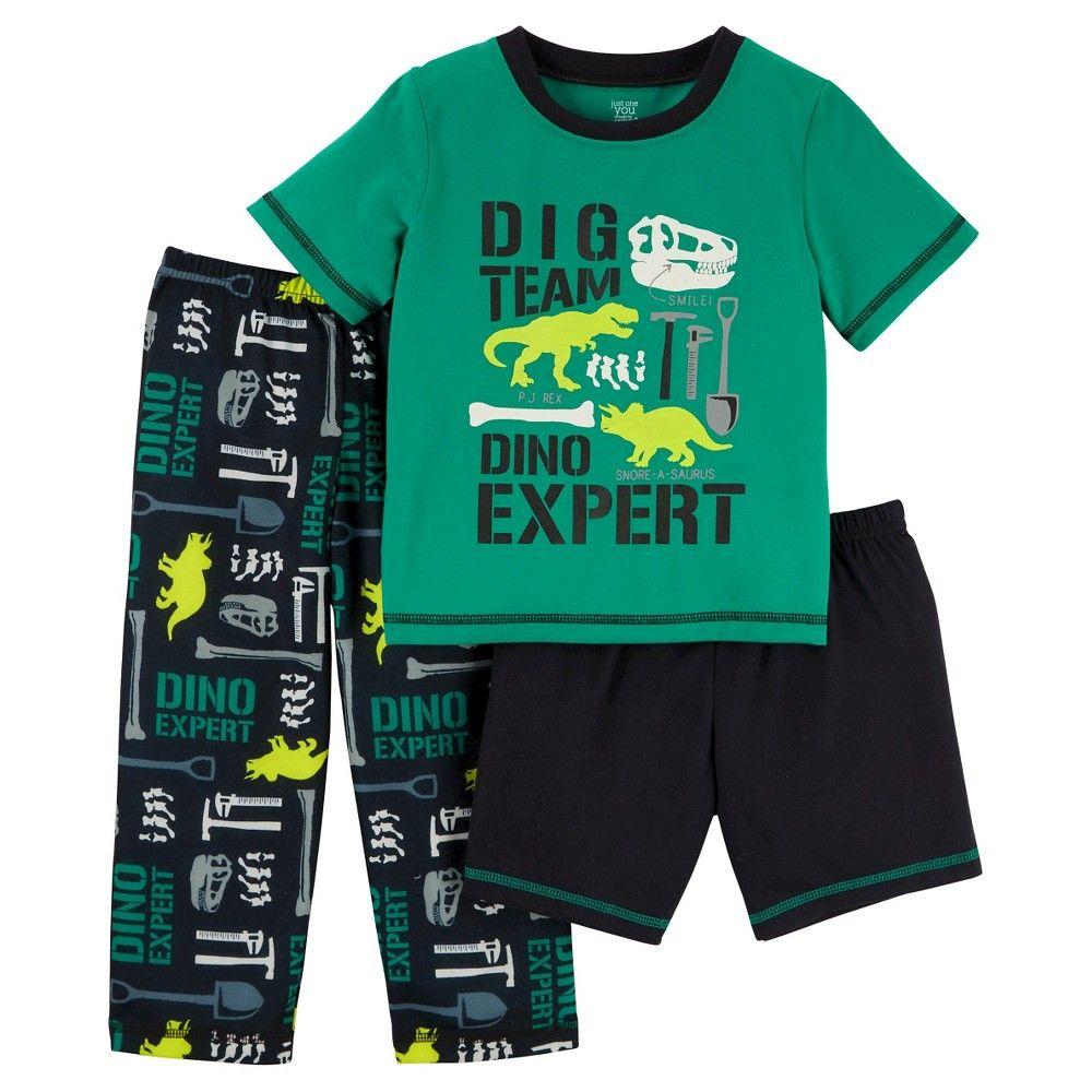 bd47c263915f Toddler Boys  3-Piece Jersey Pajama Set Dino Expert - Dark Green 4T ...
