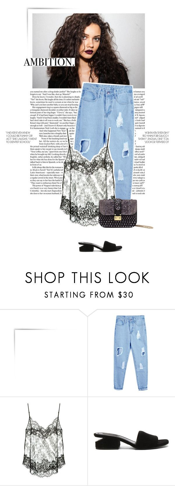 """""""AMBITION"""" by uniqueimperfection ❤ liked on Polyvore featuring Givenchy, Alexander Wang, black, denim, lace, jeans and uniqueimperfection"""