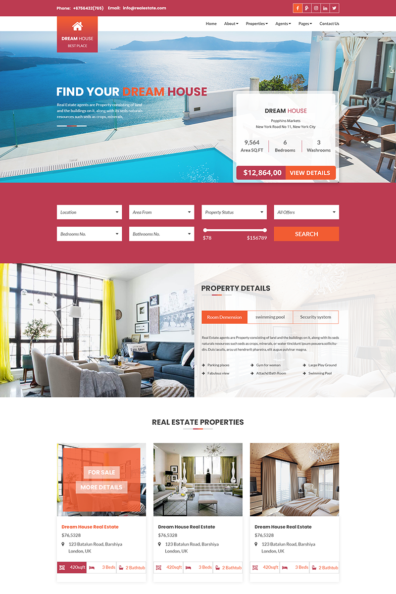 Dream House Real Estate Business Psd Template 69038 Real Estate Dream House Estates
