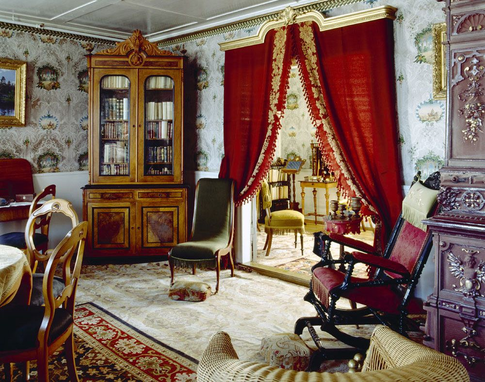 Charming Luxury Victorian Interior Decorations Bold Red Curtains Beautiful Furniture  Embellishments Vintage Wallpaper Two Toned Walls Decor Ideas For And Drapes  ...