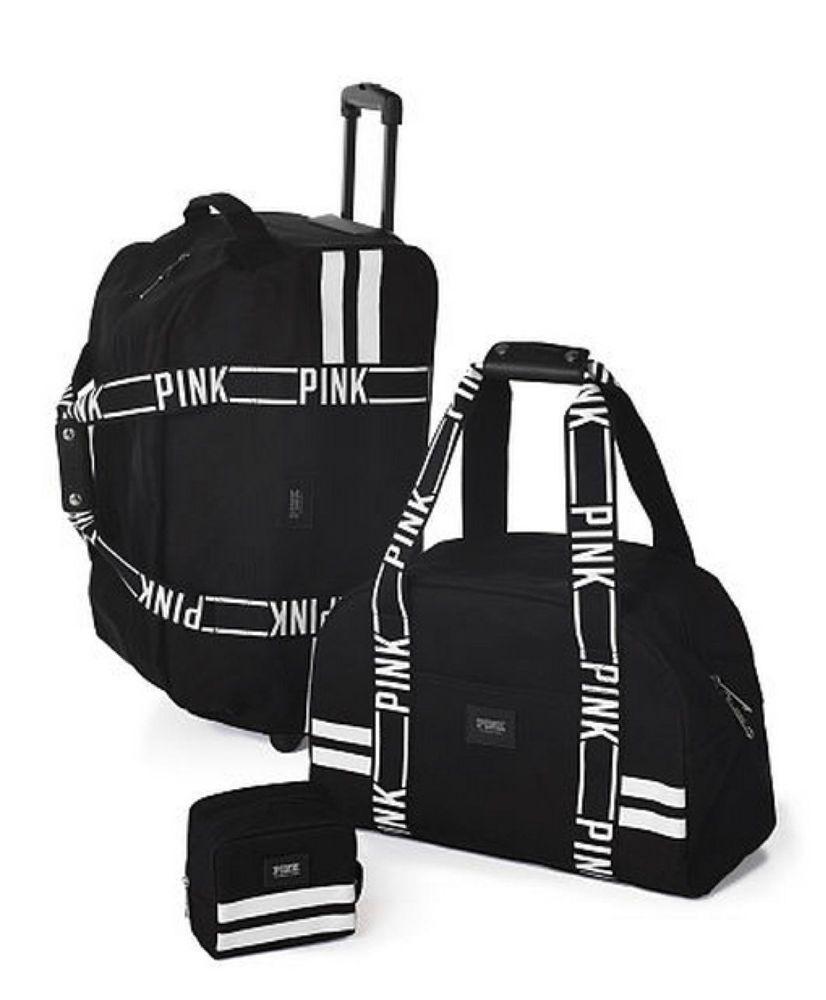 Victoria's Secret NWT LOVE PINK Black Logo 3 Piece Luggage Set ...