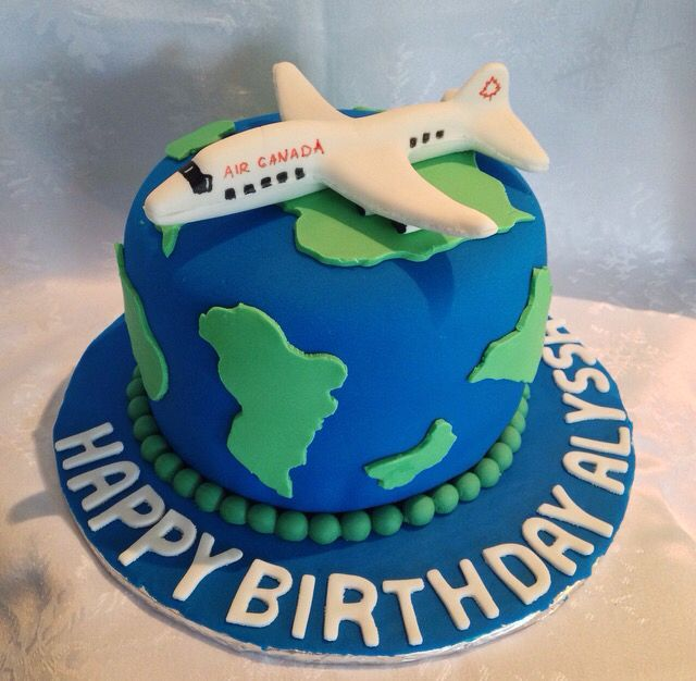 Travel Themed Cake for a Flight Attendants Birthday Custom