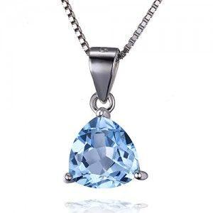 Jewelrypalace 2.2ct Dreieck Natürliche Himmel Blau Topas Anhänger Halskette Mit 45cm Box Kette Damen Geschenk 925 Sterlingsilber