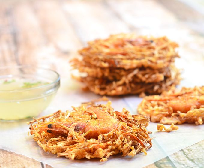 Ukoy na Togue are deep-fried vegetable patties made with beans sprouts, carrots and shrimp
