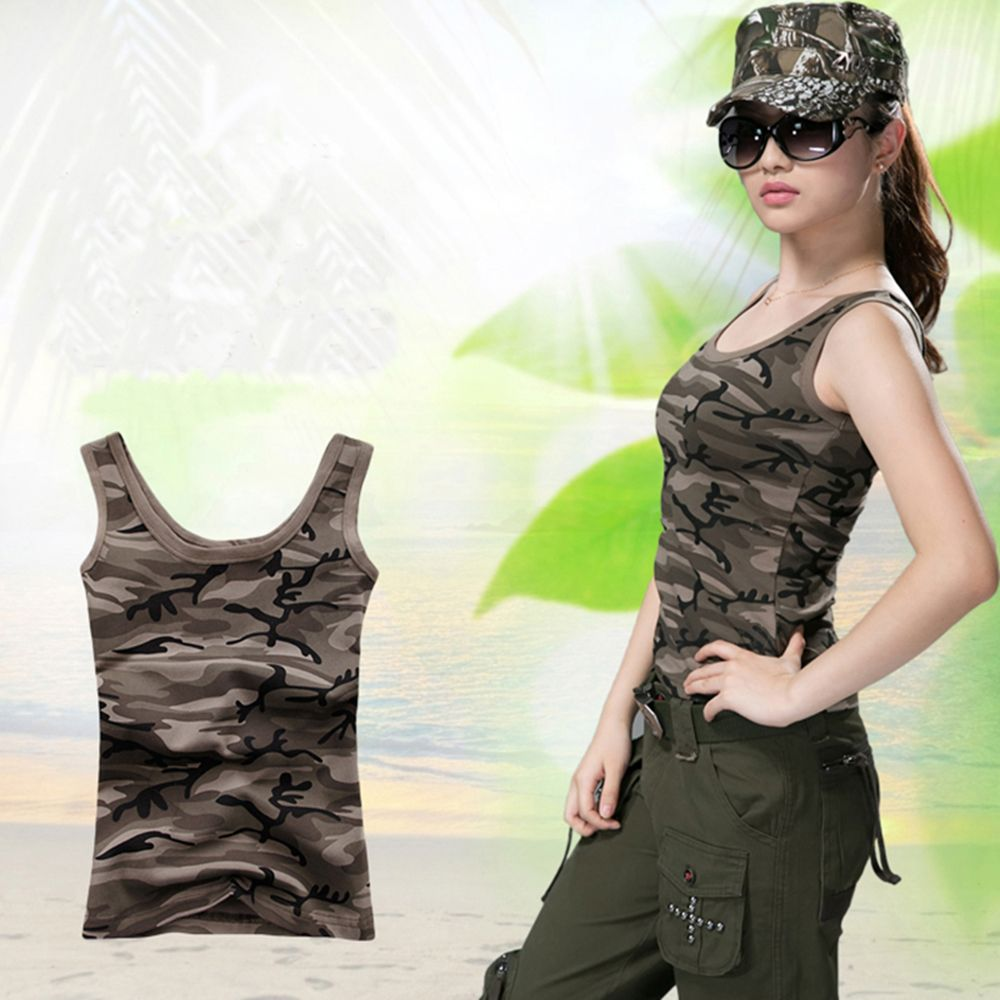 7a5b77176c512 New Women Camouflage Slim T shirts Army Print Clothes Sleeveless O Neck T  shirt Casual Summer
