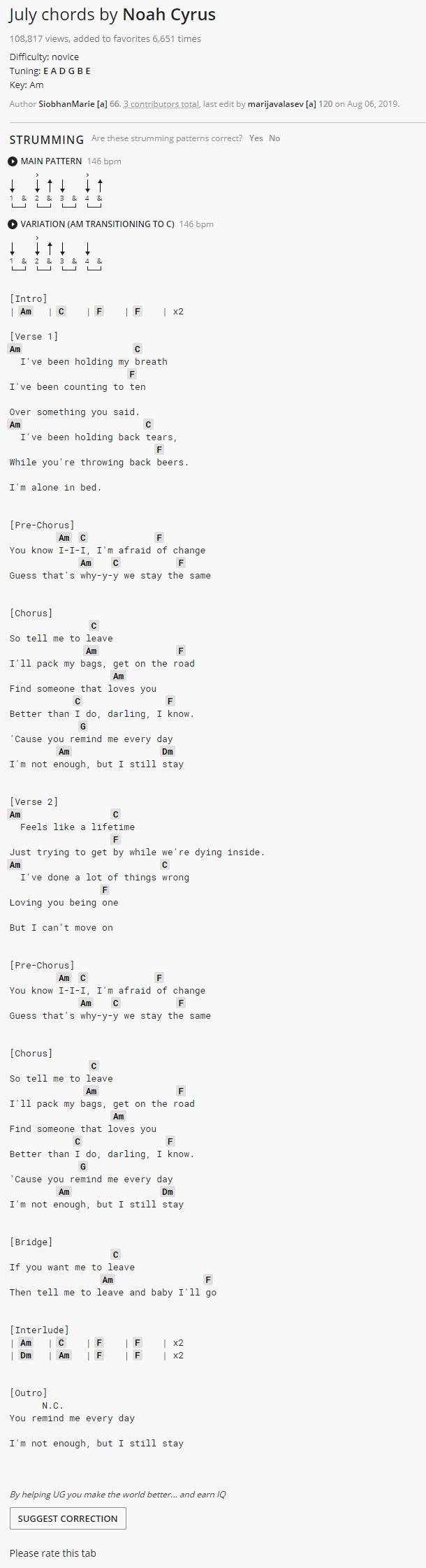 July Noah Cyrus Ukulele Songs Ukulele Chords Songs Guitar Chords For Songs