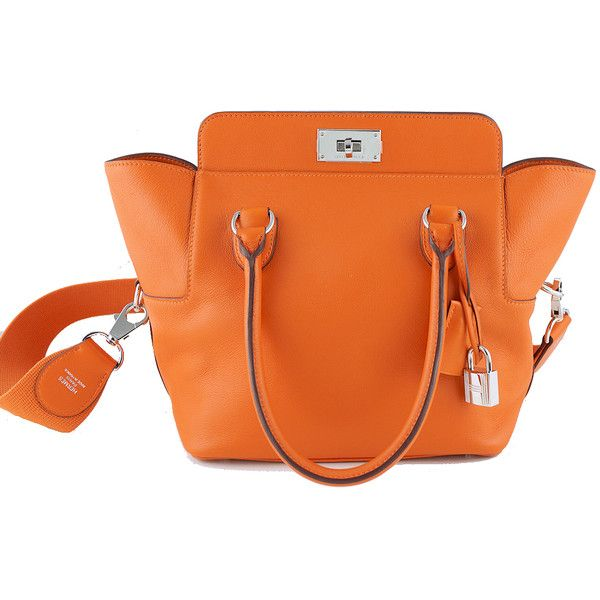 bd48677e569 Pre-Owned Hermes Orange Swift 20cm Toolbox Tote Shoulder Bag (6000 PAB) ❤  liked on Polyvore featuring bags, handbags, tote bags, orange, genuine  leather ...