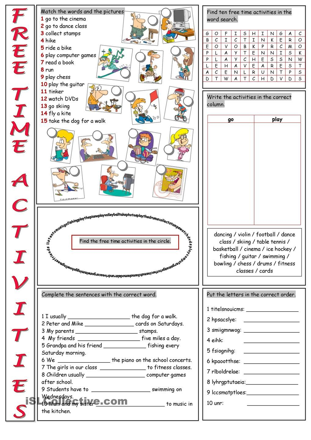 Free Time Activities Vocabulary Exercises English Worksheets