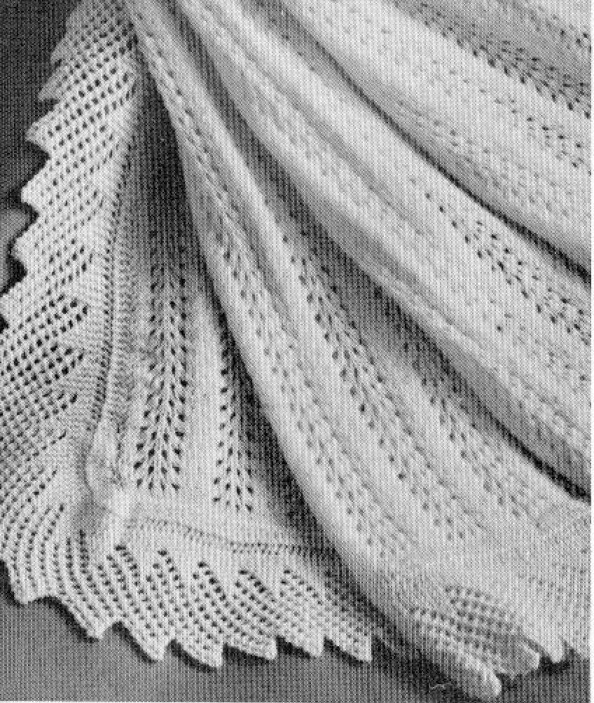 Vintage Knitting pattern-how to make feather & fan lace baby ...