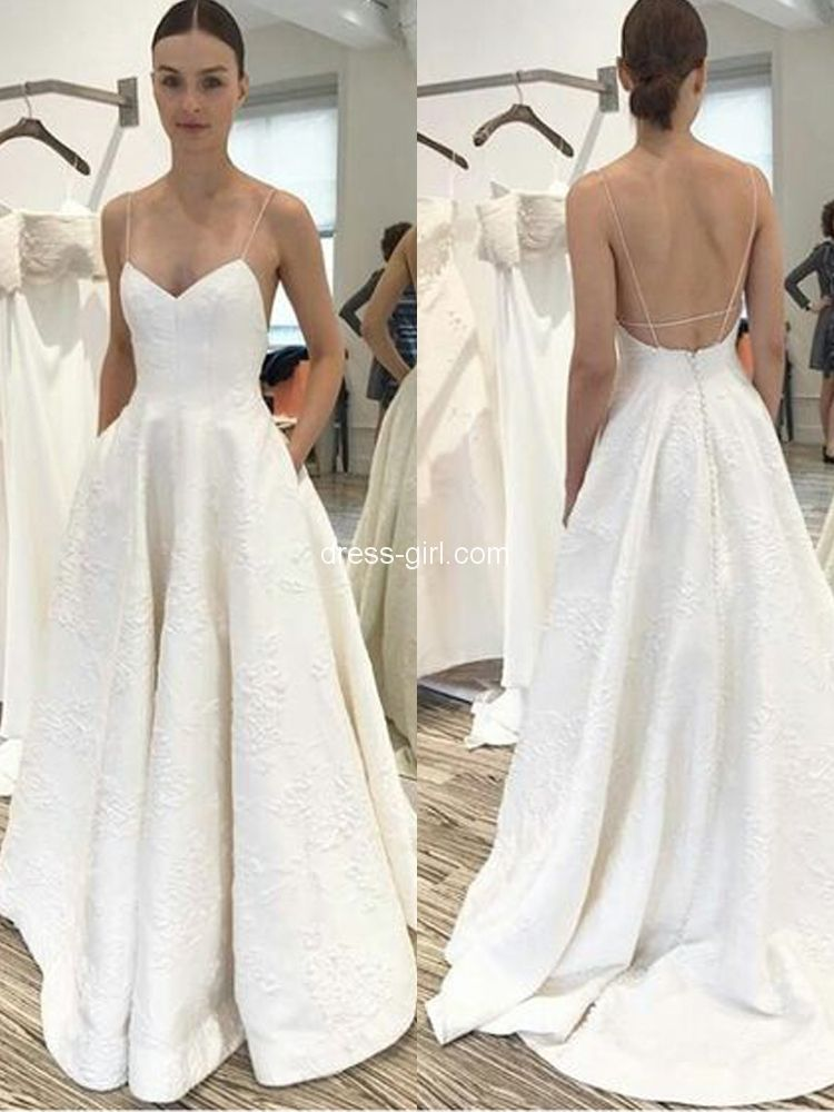 Simple V Neck Cross Back White Satin Wedding Dresses With Pockets Beach Wedding Gown Strappy Wedding Dress Beach Wedding Gown Wedding Dress With Pockets