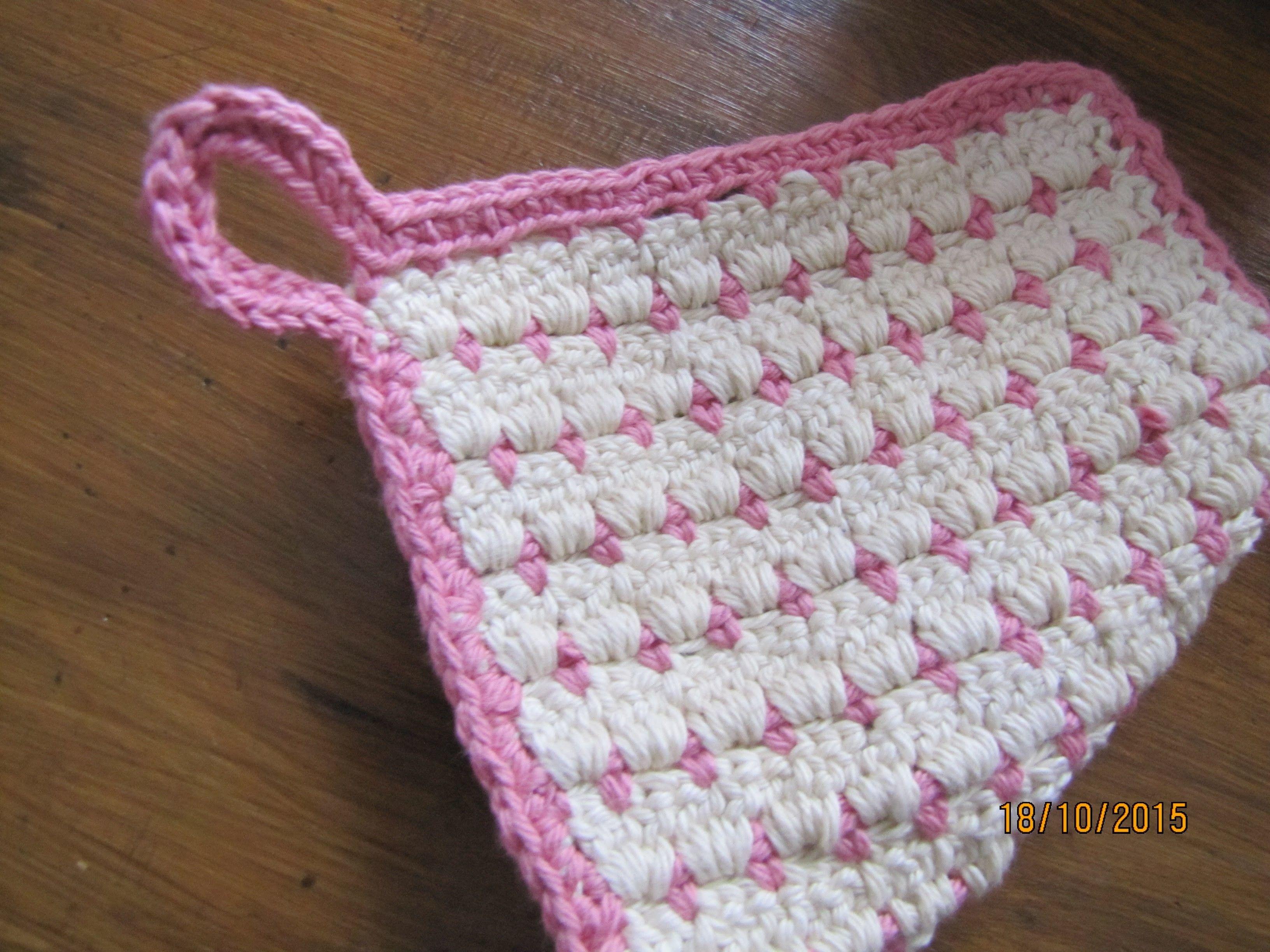 Topflappen häkeln - zweifarbig - Anleitung DIY   Crochet, Crochet ...