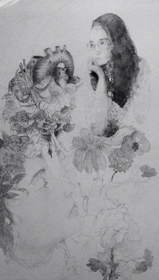 #watercolor #heart retrato con filtro b&w. By Syd Aristheo