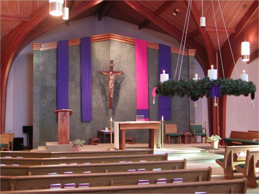 Church decorating st mary catholic church solon iowa for Altar wall decoration