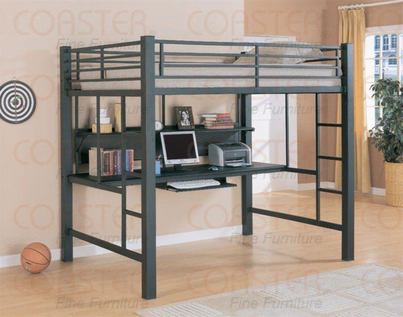Full Loft Bed With Desk | Full Size Metal Loft Bed with Desk 460023 ...