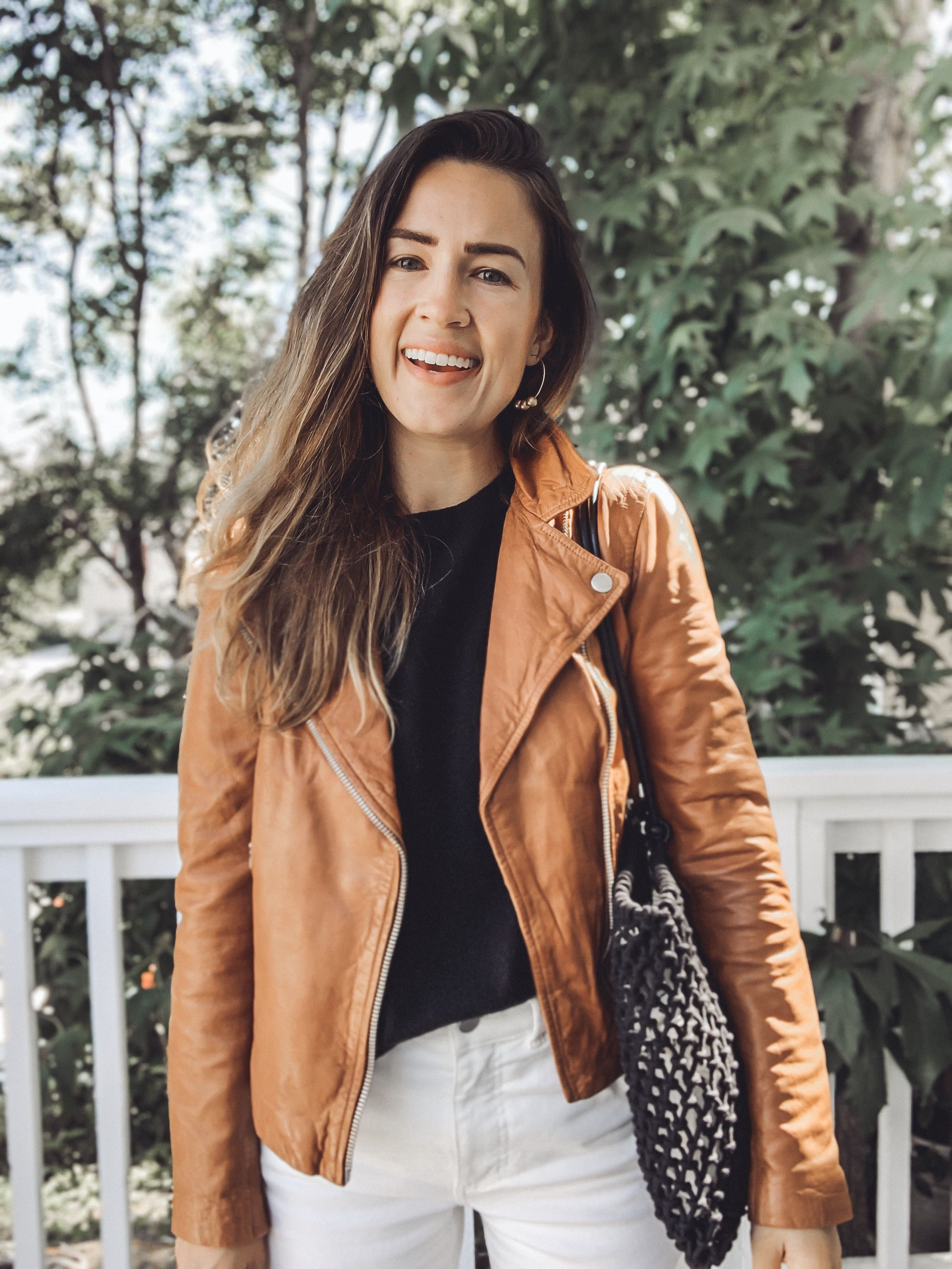5 Ways To Wear A Tan Leather Jacket Natalie Borton Blog Tan Leather Jackets Coloured Leather Jacket Tan Leather Jacket Outfit [ 3088 x 2316 Pixel ]