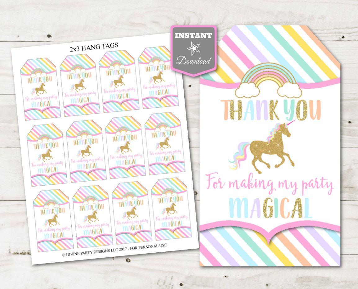 "unicorn  rainbows birthday party ideas printable 2""x3"