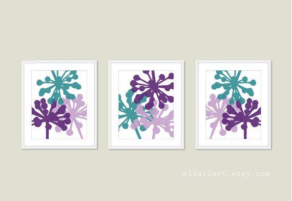 Modern Flower Wall Art Custom color Frames not included Blue Flower Art Flower Print Set of two flower prints Aldari Art