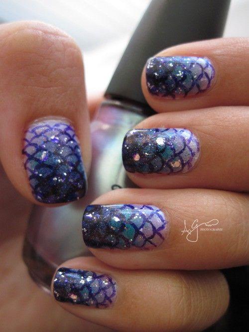 mermaid nails! | Nails | Pinterest | Estampado, Malvada y La sirenita