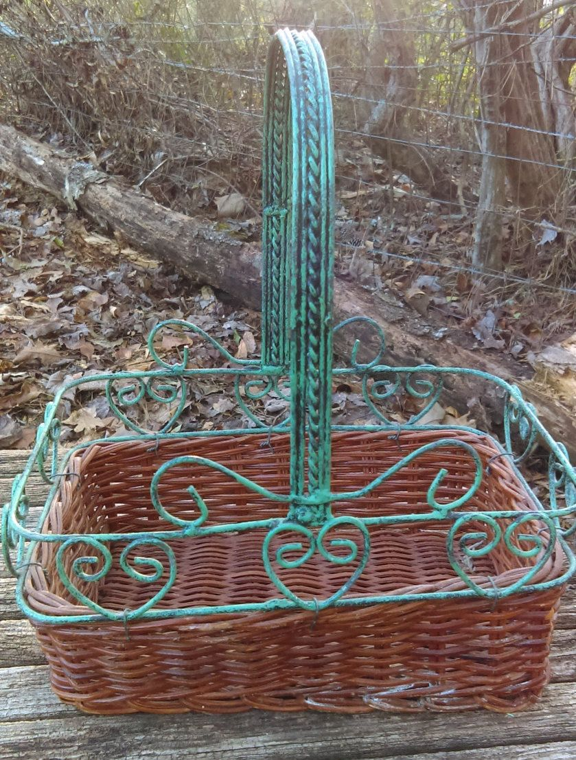 Vintage wicker basket with iron around with heart -shapes designs by GenesisVintageShop on Etsy