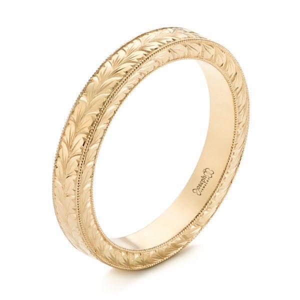 yellow gold hand engraved wedding band joseph jewelry bellevue seattle online