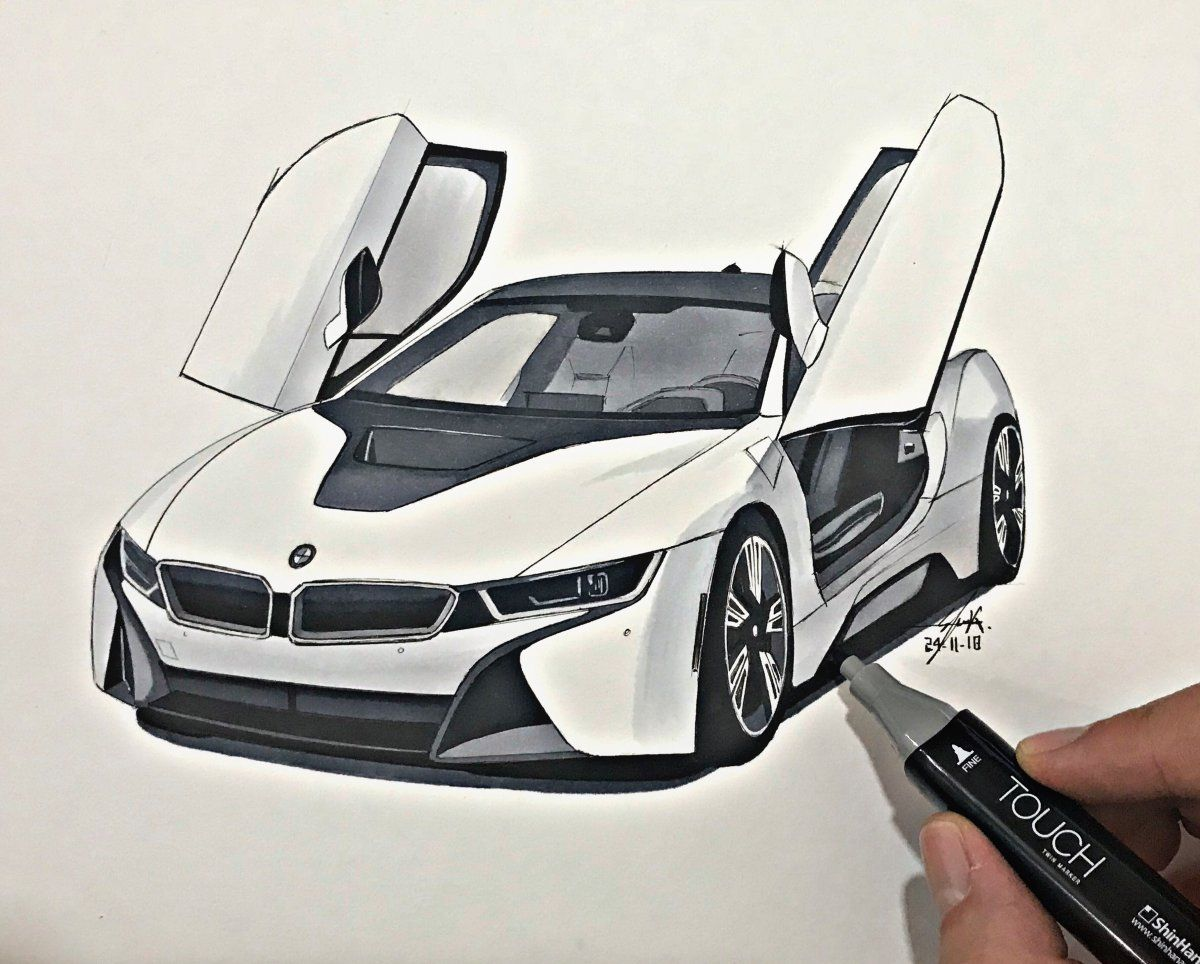Quick Sketch Of The Bmw I8 Done On A4 Paper With Markers And Pencils