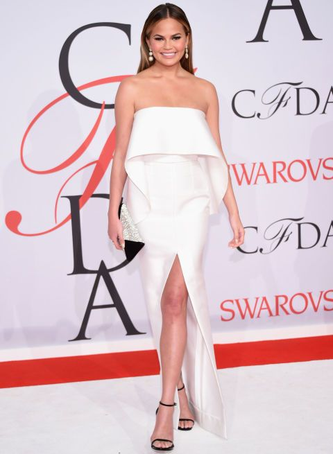 Chrissy Teigen attends the 2015 CFDA Fashion Awards on June 1, 2015, in New York City.