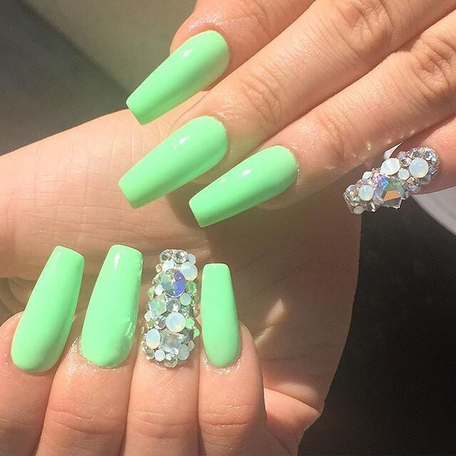 Lime Green With Holographic Glitter Tapered Square Nails