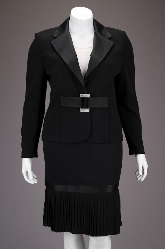 New St John Knits Evening Black Satin Trim Jacket Amp Skirt