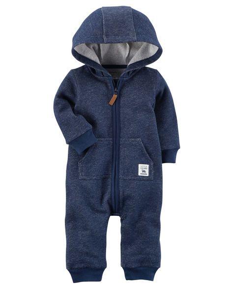 8b678636749c Hooded Brushed Fleece Jumpsuit