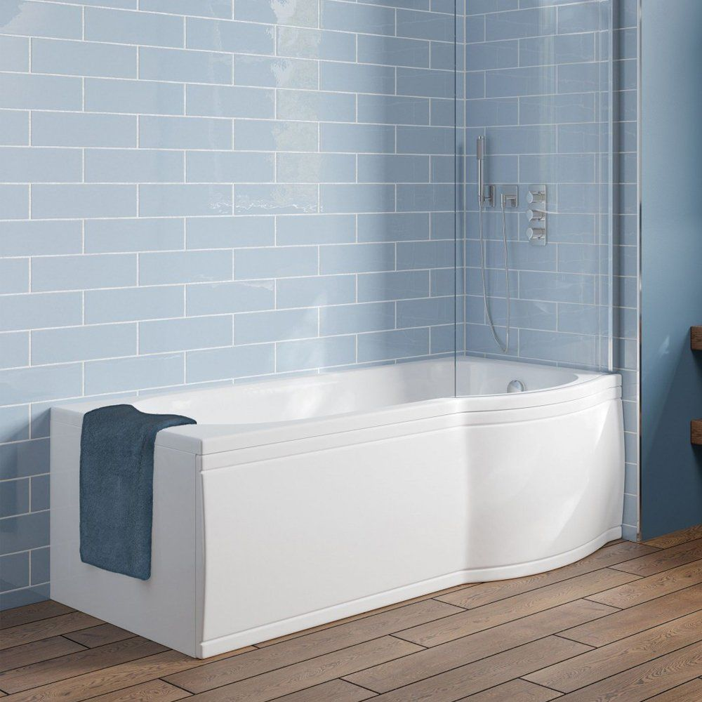 Trojan Concert 1700 P Shaped Shower Bath With Panel Curved