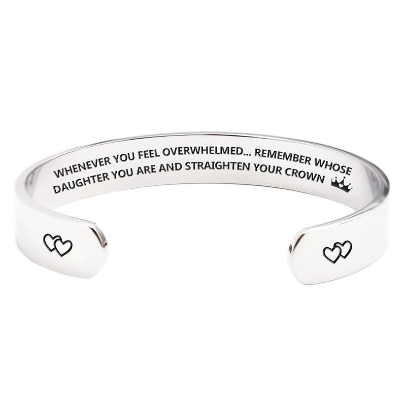 Daughter Whenever You Feel Overwhelmed Remember Whose Straighten Your Crown Bracelet Sister Engraved Inspirational Bracelets Personalized Gift for Mom Girls and Women Granddaughter Best Friend