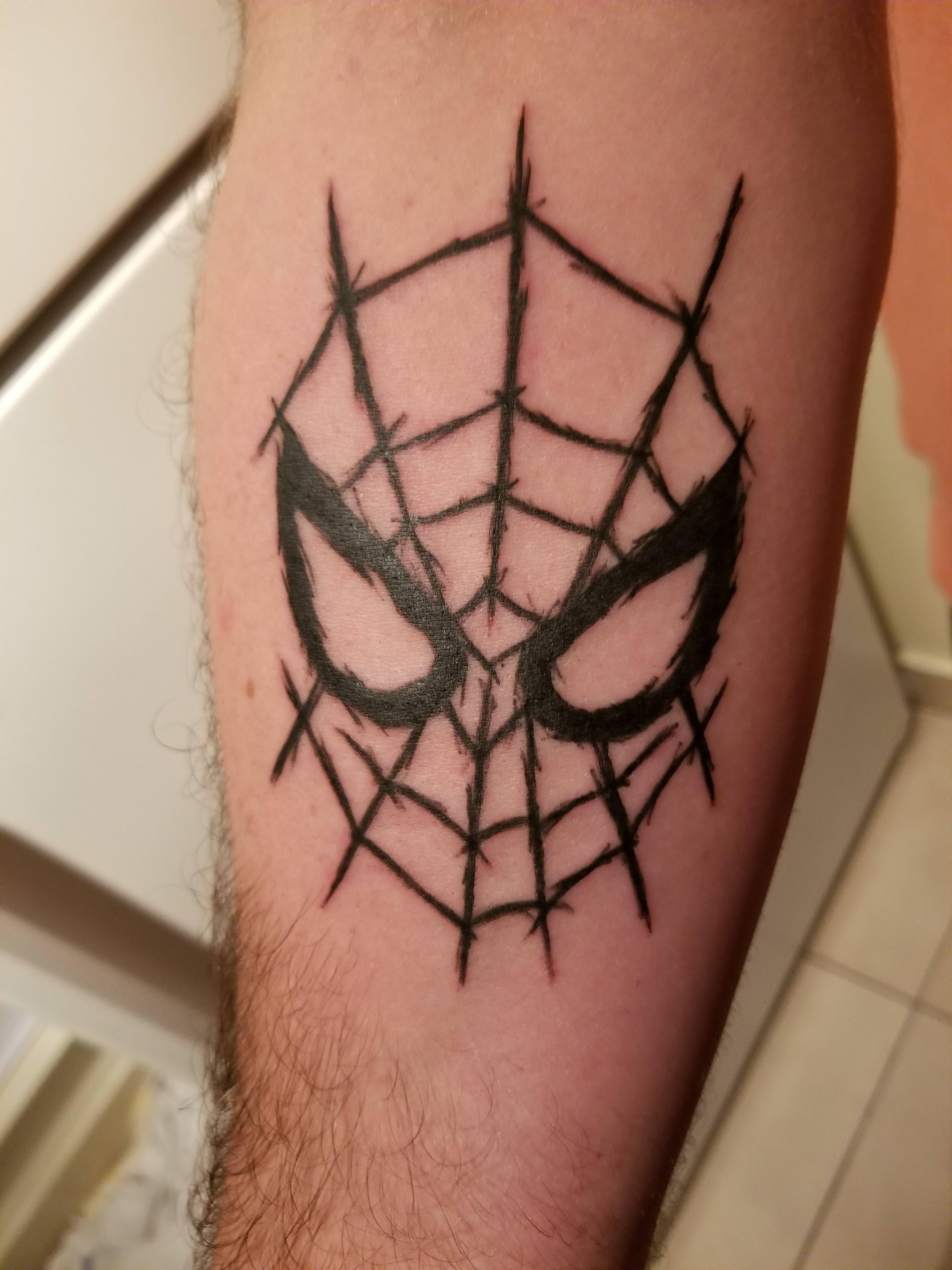 Spider Man By Craig At Bonedaddy S Tattoo In Aston Pa Spiderman Tattoo Tattoos For Guys Geek Tattoo