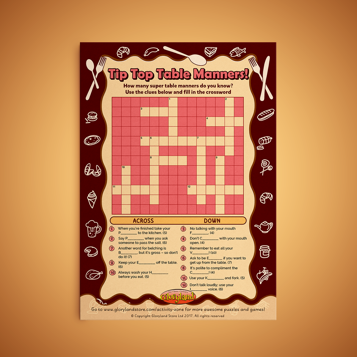 Table Manners Crossword Fun Free Printable Activity