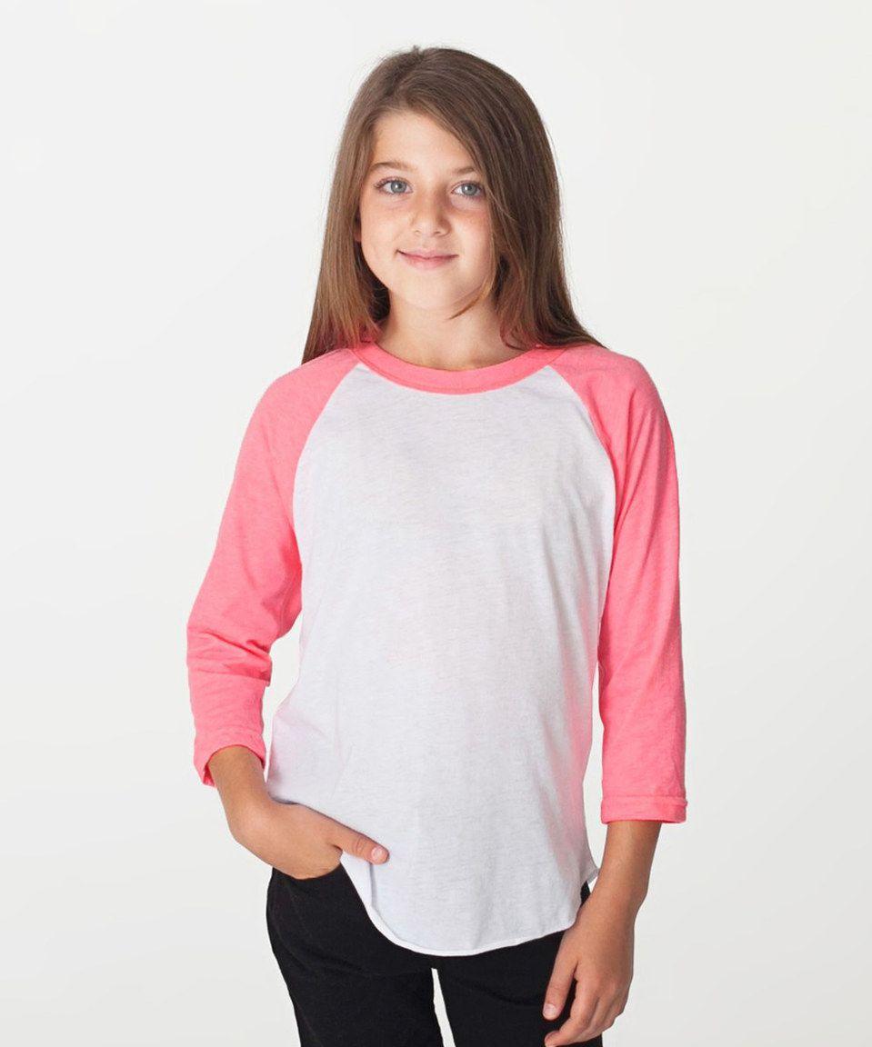 Look at this #zulilyfind! White & Neon Pink Raglan Tee - Kids by American Apparel #zulilyfinds
