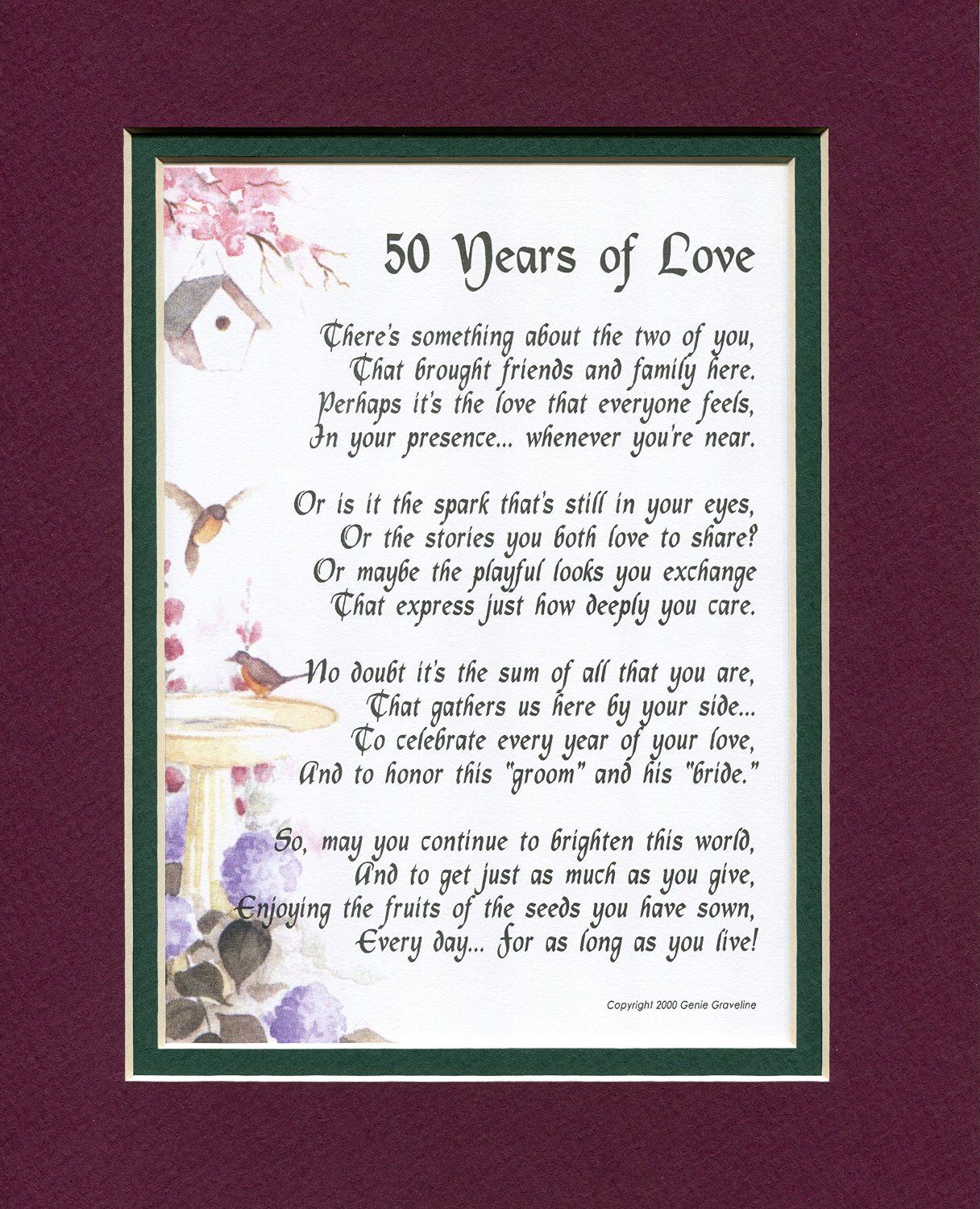 50th Wedding Anniversary Poems: 50 Years Of Love, #119, Touching Poem. A Gift