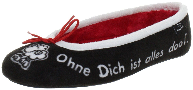 Sheepworld 340130, Unisex-Erwachsene Flache Hausschuhe - Rot (rot/schwarz), 41 EU (7.5 Erwachsene UK)