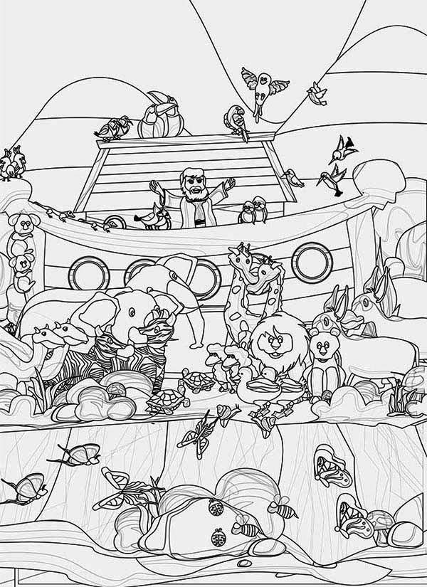 Cool A Pencil Sketch Of Noahs Ark And The Animals Coloring Page