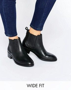 Asos Envie Large Bottines En Cuir En Forme - Cuir Noir Act33hT