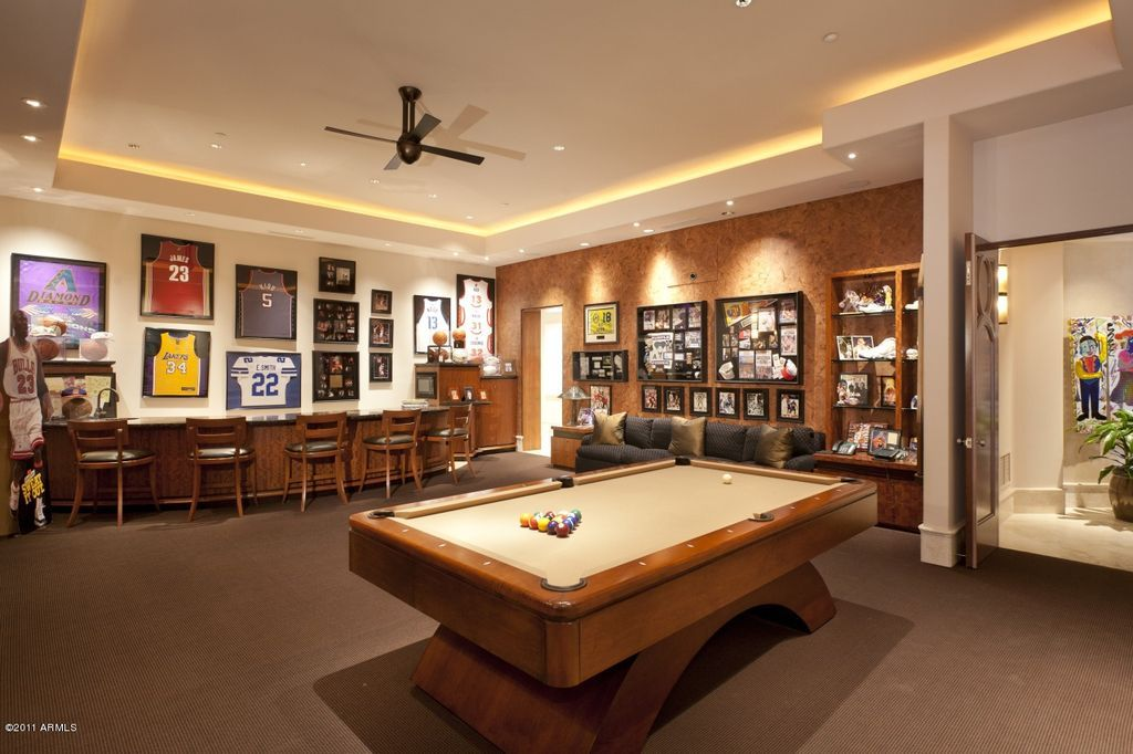 Contemporary Man Cave With Ceiling Fan, Built In Bookshelf, Carpet, Custom Pool  Table, High Ceiling