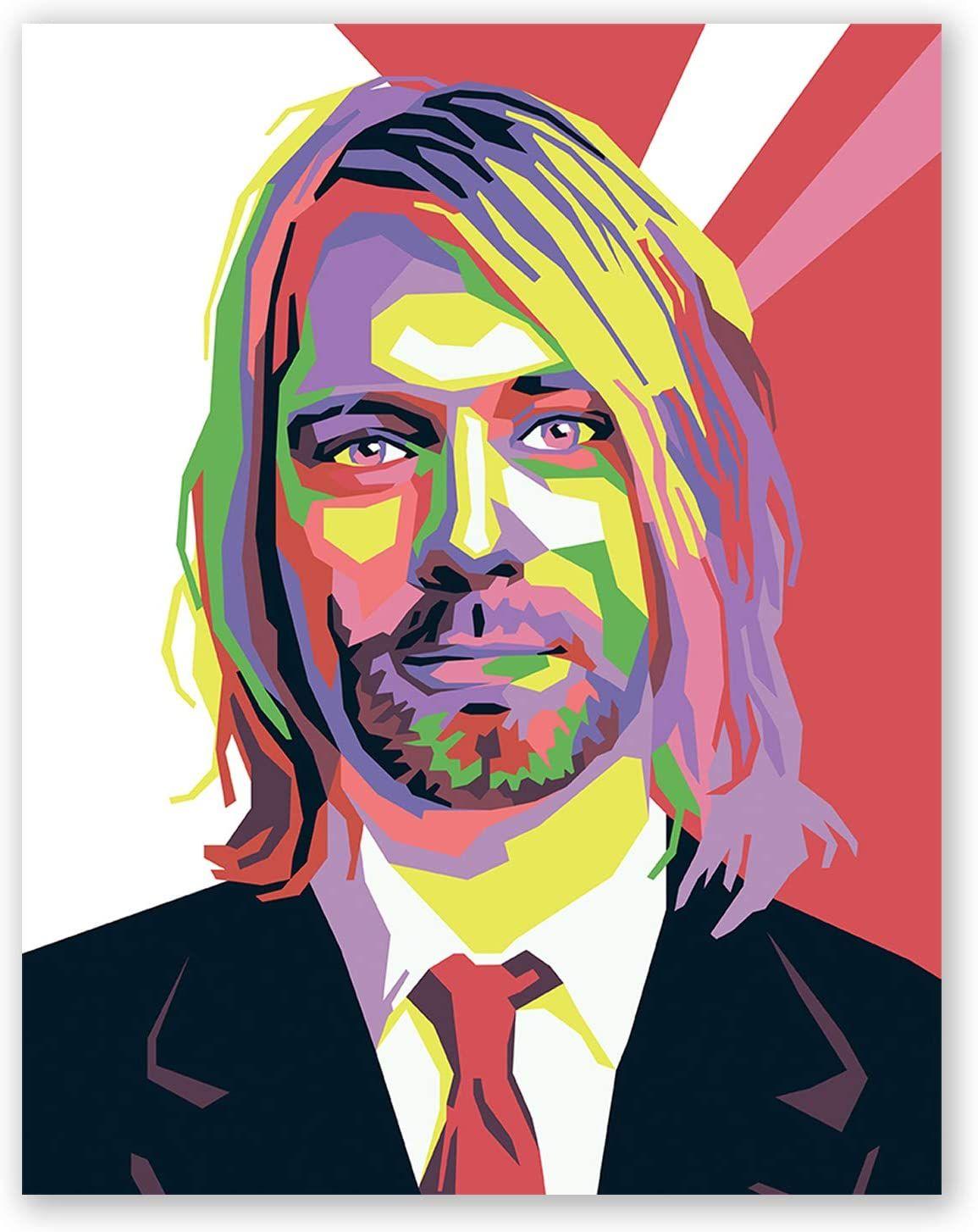 Kurt Cobain Poster Nirvana Rock Legend Print Pop Art Portrait Music Home Wall Decor Pop Art Portraits Pop Art Rock Legends