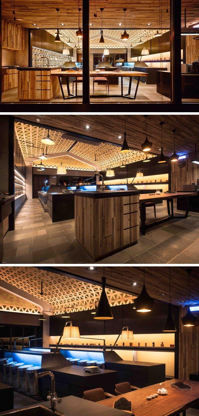 Decke Design Ideen A gewebt Holz fallen Decke schafft A ...