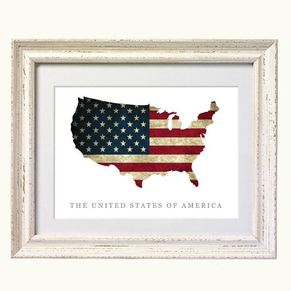 Flag Map Of United States Print 8x10 On A4 Heavyweight Matte Paper