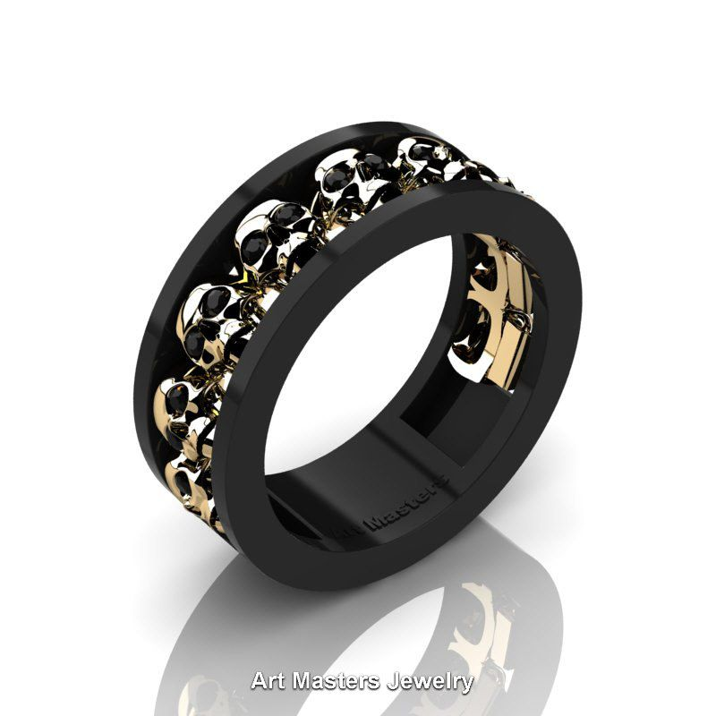 Mens Modern 14K Black and Yellow Gold Black Diamond Skull Channel ...