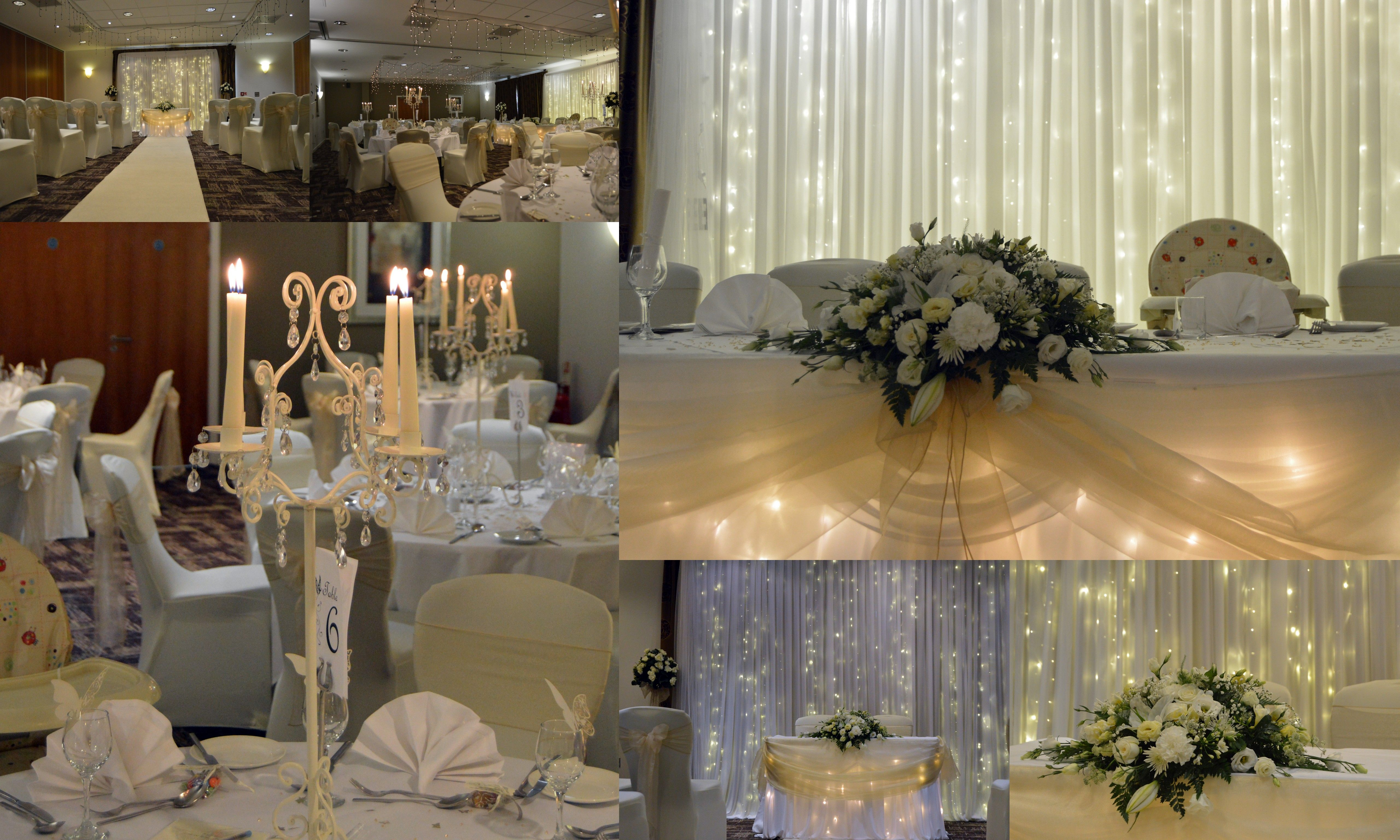 We Decorated The Whole Of This Wedding Except For Flowers On Registrar Top Table Which Were By Fl Design Champagne Coloured Sashes
