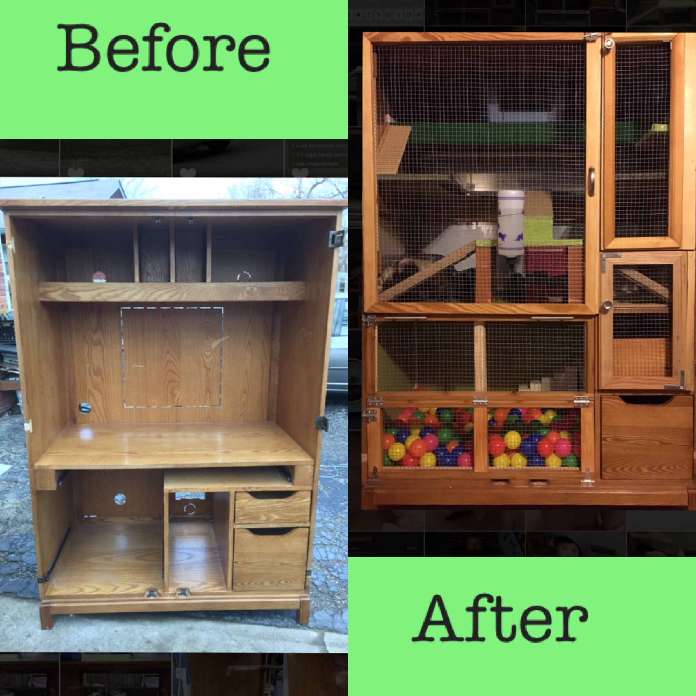 Rabbit Runn Designs A Kitchen Makeover: Old Computer Hutch Makeover To