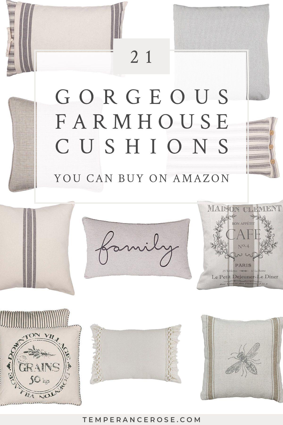Farmhouse Large Throw Pillow Black White Floral Design Country Cottage