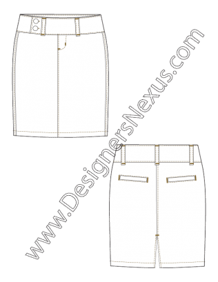003 Fashion Flat Sketch Pencil Skirt Wide Waistband Free Download And More Fashion Technical Drawing T Flat Sketches Wide Waistband Fashion Design Portfolio