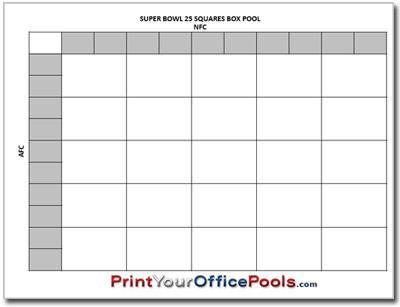 Free Printable Football 25 Squares Box Office Pool Super Bowl Pool Superbowl Squares Football Pool