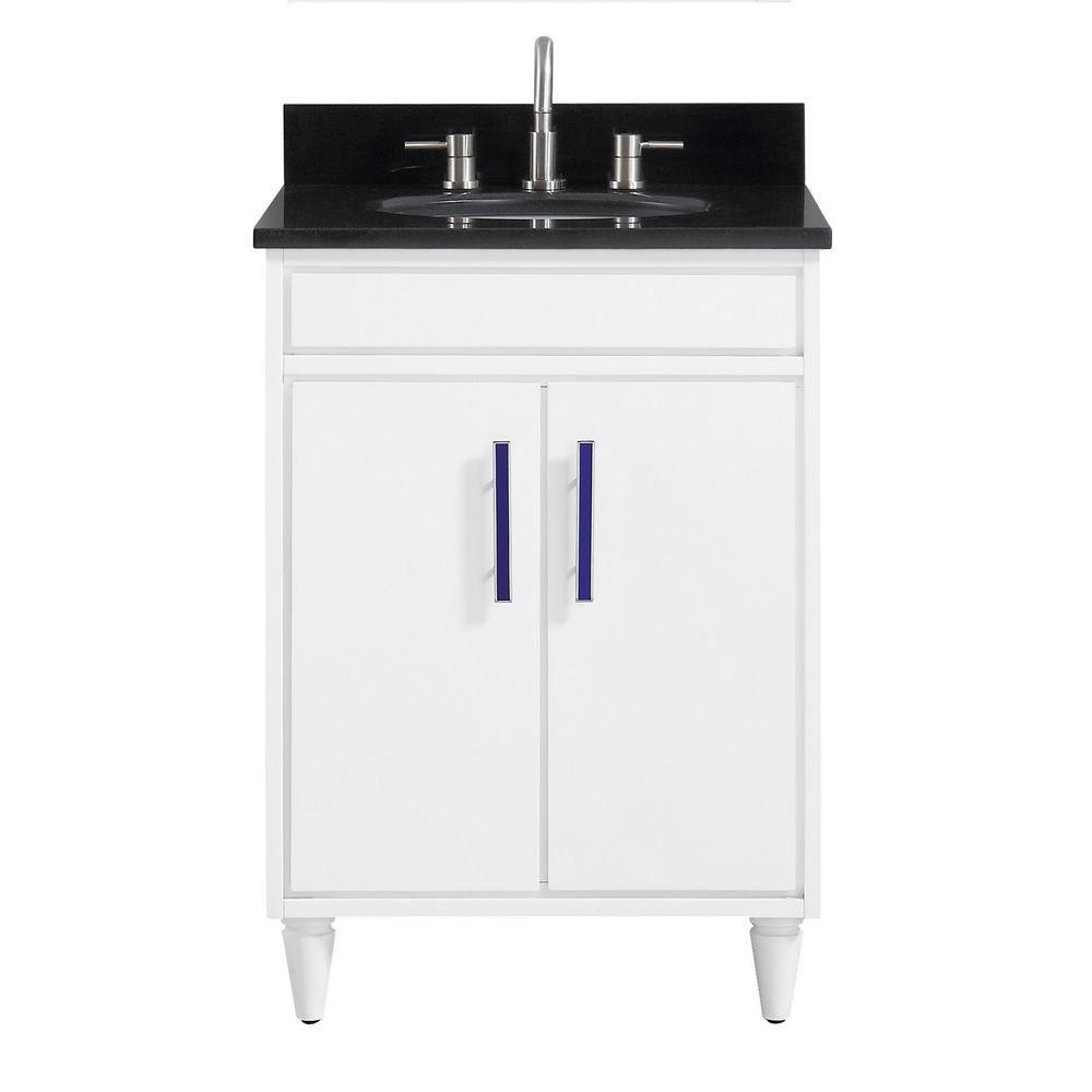 Avanity Layla 25 In W X 22 In D X 35 In H Bath Vanity In White With Granite Vanity Top In Black With White With Basin Granite Vanity Tops Single